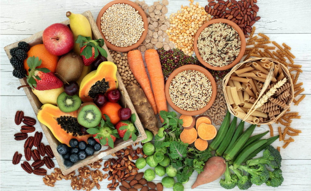 A high fibre diet with whole wheat pasta, grains, legumes, nuts, fruit, vegetables and cereals with foods high in omega 3 fatty acids, antioxidants and vitamins.