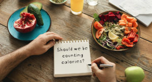 Healthy meals on table, counting calories